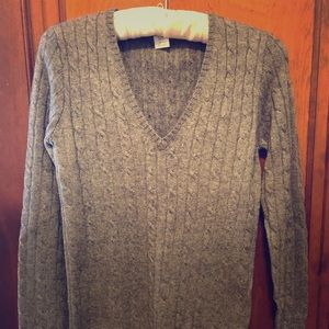 JCrew grey cashmere blend xs v-neck cable sweater